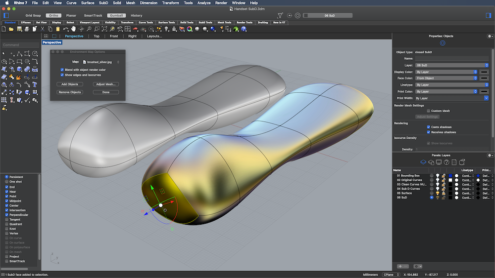 Screenshot of SubD workflow in Rhino 3D v7 for Mac