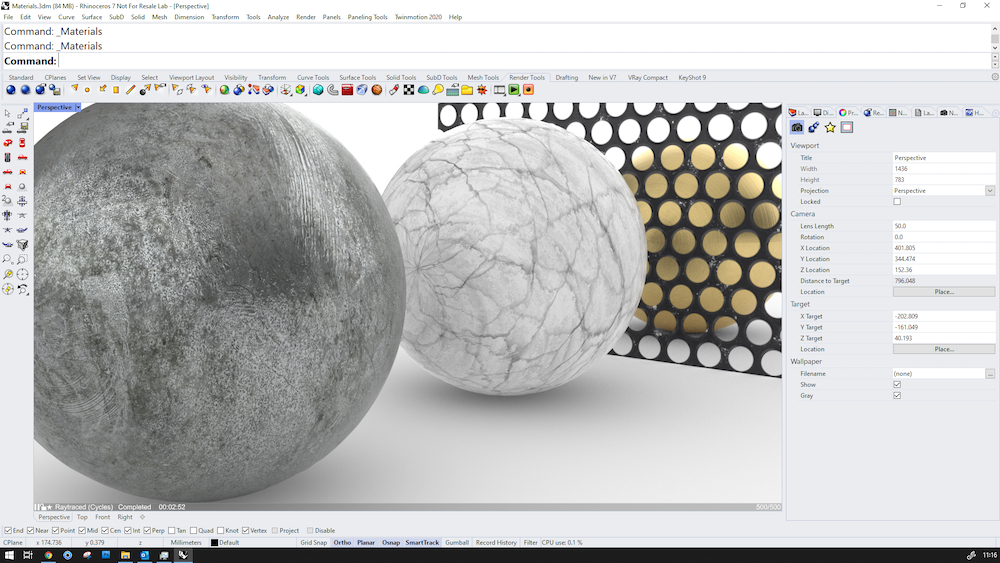 Screenshot showing the physically based material selections in Rhino v7