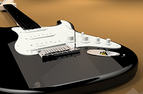 a guitar rendered in Flamingo nXt