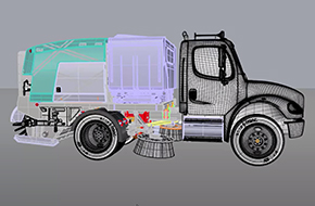 Screenshot of a cleaning truck modelled in Rhino v6