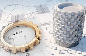 A Ring and a Circular tall building both modelled in Rhino 3D