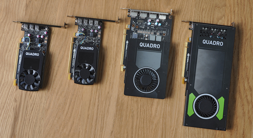 A line up of 4 NVIDIA Quadro cards