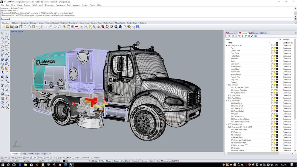 Rhino Screenshot of a 3D modelled truck